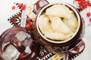 Traditional food of Ukrainian cuisine. Dumplings.