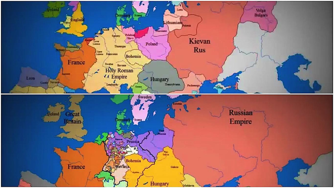 Що відбувалося з Україною? Зміна кордонів за 1000 років (відео)