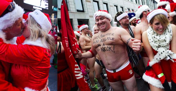 Фестиваль Сантакон 2015. Нью-Йорк. Санта Клаус новый год