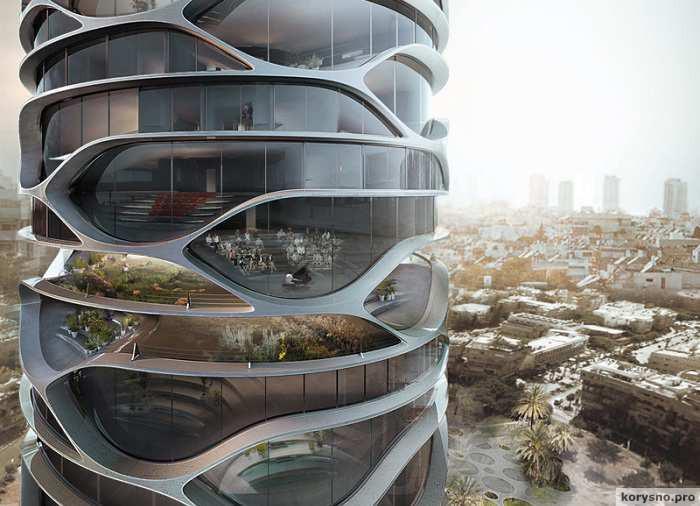 «Вертикальный город»: проект небоскреба с многоуровневым автоматическим паркингом