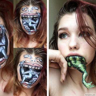 19-летняя девушка делает макияж, от которого стынет кровь