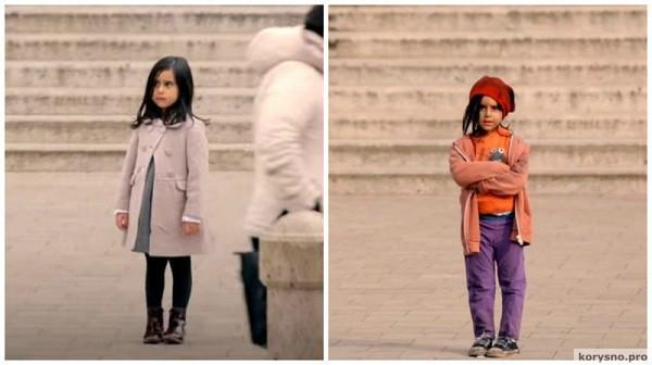 Реакция людей на одинокую девочку в зависимости от того во что она одета