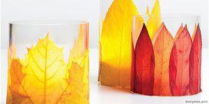 Как сделать подсвечник с осенними листьями своими руками