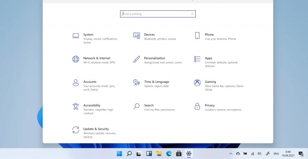 меню параметры Windows 11